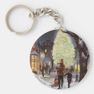 Vintage Christmas, Dad Shopping with the Kids Keychain