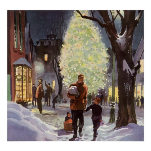 Vintage Christmas, Dad Shopping with the Kids Poster