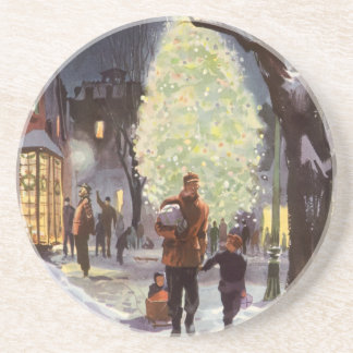 Vintage Christmas, Dad Shopping with the Kids Sandstone Coaster