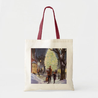 Vintage Christmas, Dad Shopping with the Kids Tote Bag