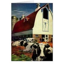 Vintage Christmas, Dairy Cows with Barn on a Farm Card