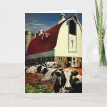 Vintage Christmas, Dairy Cows with Barn on a Farm Holiday Card