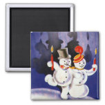 Vintage Christmas Dancing Snowmen Candles 2 Inch Square Magnet