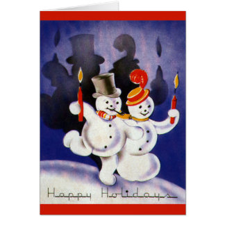 Vintage Christmas Dancing Snowmen with Candles Card