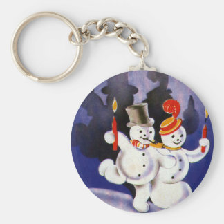 Vintage Christmas Dancing Snowmen with Candles Keychain