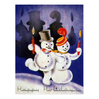 Vintage Christmas Dancing Snowmen with Candles Postcard