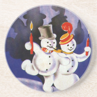 Vintage Christmas Dancing Snowmen with Candles Sandstone Coaster