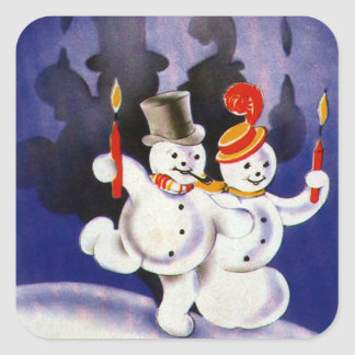 Vintage Christmas Dancing Snowmen with Candles Square Sticker
