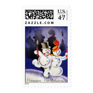 Vintage Christmas Dancing Snowmen with Candles Stamp