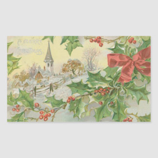 Vintage Christmas Day Snow Holly Rectangle Sticker