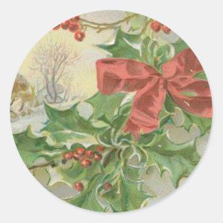 Vintage Christmas Day Snow Holly Round Sticker