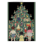 Vintage Christmas, Decorated Tree and Children Greeting Card