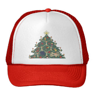 Vintage Christmas Decorated Tree and Children Trucker Hat