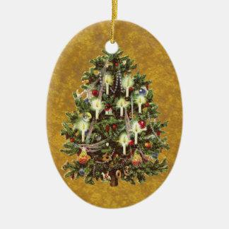 Vintage Christmas, Decorated Victorian Tree Ceramic Ornament