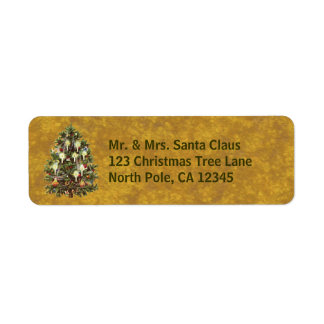Vintage Christmas, Decorated Victorian Tree Label