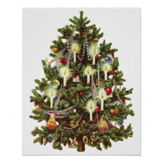 Vintage Christmas, Decorated Victorian Tree Poster