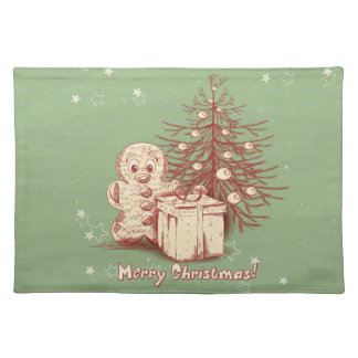 Vintage Christmas Decoration on Green Background Placemat