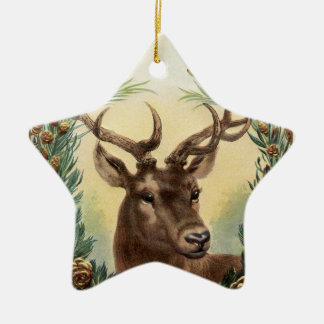 Vintage Christmas Deer Ceramic Ornament