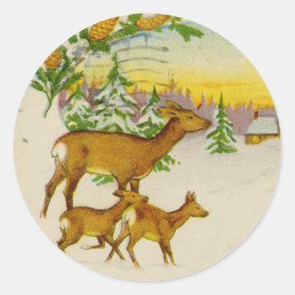 Vintage Christmas Deer Classic Round Sticker