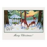 Vintage Christmas deer forest Post Card