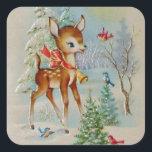 "Vintage Christmas deer Holiday sticker<br><div class=""desc"">design by www.etsy.com/Shop/HeartlandMix</div>"