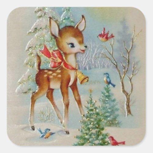 Vintage Christmas deer Holiday sticker