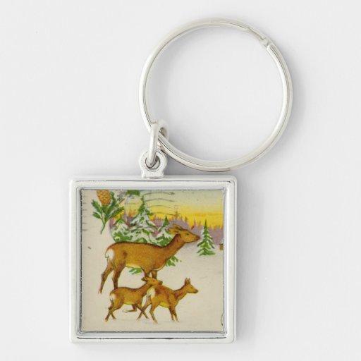 Vintage Christmas Deer Keychain