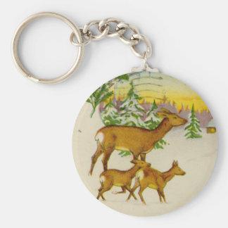 Vintage Christmas Deer Key Chain