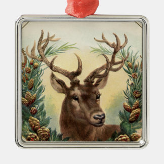 Vintage Christmas Deer Metal Ornament