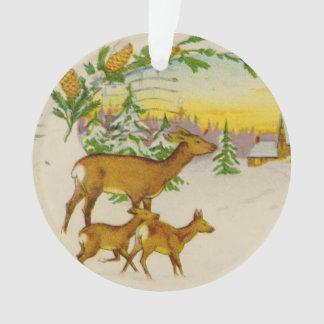 Vintage Christmas Deer Ornament