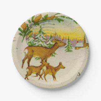 Vintage Christmas Deer Paper Plate
