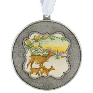 Vintage Christmas Deer Pewter Ornament