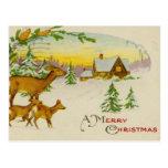 Vintage Christmas Deer Postcards