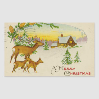 Vintage Christmas Deer Rectangular Sticker