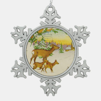 Vintage Christmas Deer Snowflake Pewter Christmas Ornament