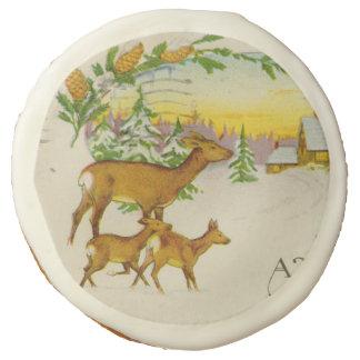 Vintage Christmas Deer Sugar Cookie