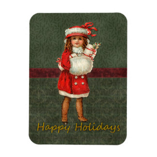 Vintage Christmas design with cute girl Magnet