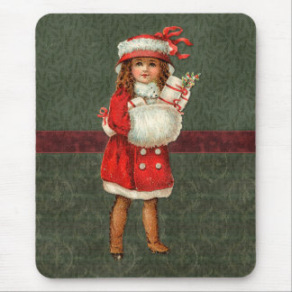 Vintage Christmas design with cute girl Mouse Pad