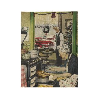 Vintage Christmas Dinner in Grandmas Kitchen Wood Poster