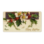 """Vintage Christmas Dogwood Labels for Gifts<br><div class=""""desc"""">Victorian Christmas labels. Christmas wishes for a jolly season! Change the text style with the """"Customize"""" button.</div>"""