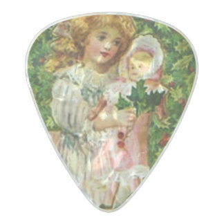 Vintage Christmas Doll Pearl Celluloid Guitar Pick