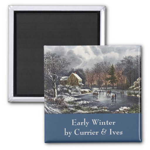 Vintage Christmas, Early Winter Skaters on Pond 2 Inch Square Magnet