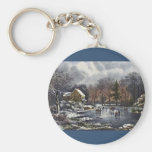 Vintage Christmas, Early Winter Skaters on Pond Basic Round Button Keychain