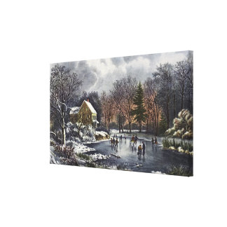 Vintage Christmas Early Winter Skaters on Pond Canvas Prints