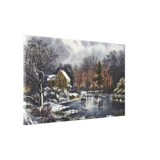 Vintage Christmas, Early Winter Skaters on Pond Canvas Print