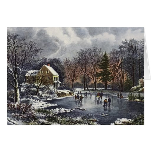 Vintage Christmas, Early Winter, Skaters on Pond Cards