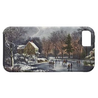 Vintage Christmas, Early Winter, Skaters on Pond iPhone 5 Case