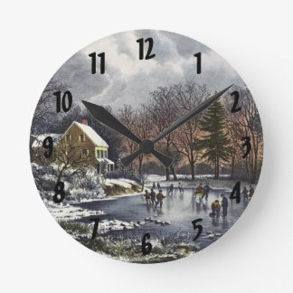Vintage Christmas, Early Winter, Skaters on Pond Round Clocks