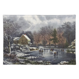 Vintage Christmas, Early Winter Skaters on Pond Cloth Placemat