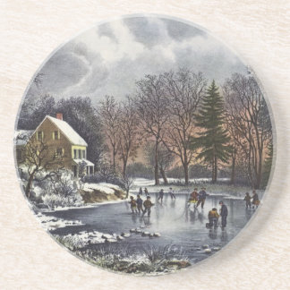 Vintage Christmas, Early Winter Skaters on Pond Coaster